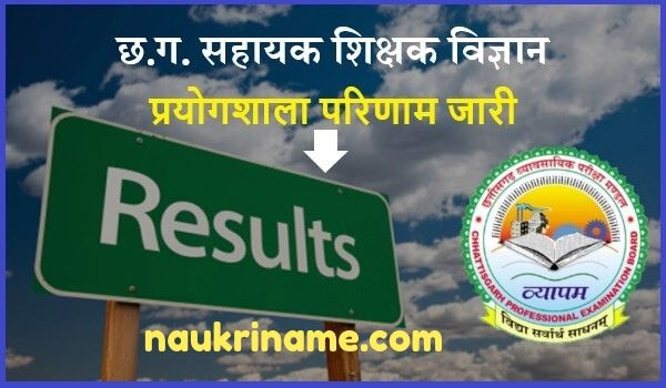 CG Vyapam Assistant Teacher Result 2019