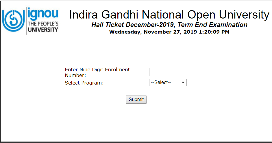 IGNOU December Exam Admit Card