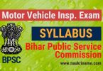 BPSC Motor Vehicle Inspector Exam Syllabus