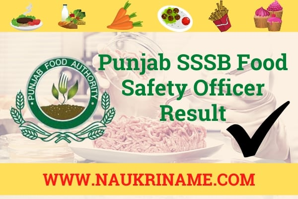 Punjab SSSB Food Safety Officer Result