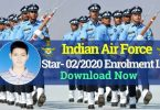 Indian Airforce Star- 02/2020 Enrolment List